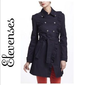 Elevenses Ruffled Trench Coat - Navy